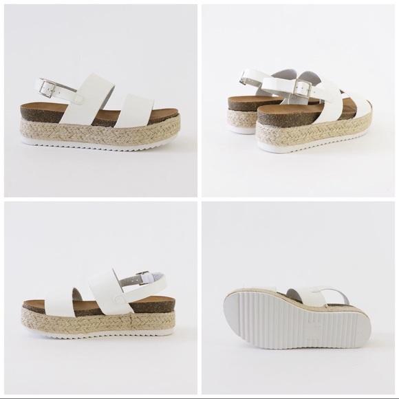 c33683793cc kazoo white sling back flatform sandal